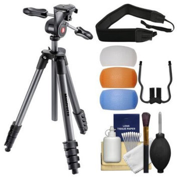 Manfrotto 65 inch Compact Advanced Aluminum Tripod & 3-Way Head with Case (Black) with Strap + Diffuser Filter Set + Kit