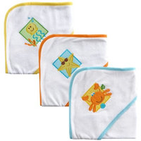 Luvable Friends Patches Hooded Towels, Blue, 3-Count (Discontinued by Manufacturer)