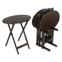 Lion Sports Tv Tray Set: 5 Piece Bay Shore Collection Oval Tray Table Set - Dark