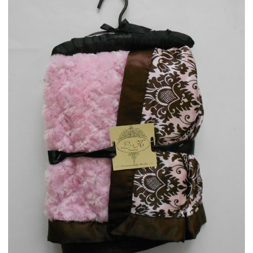 Great Value L & K Designs Plush Faux Fur Minky Satin Baby Pink & Brown Damask Blanket Silky & Satiny