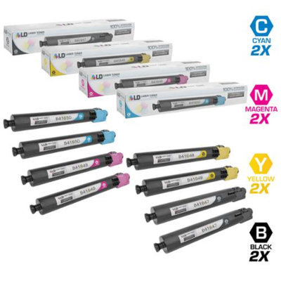 LD Compatible Replacements for Ricoh 8PK Laser Toner Cartridges Includes: 2 841647 Black, 2 841650 Cyan, 2 841649 Magenta, & 2 841648 Yellow for Ricoh Aficio MP C3002, & MP C3504