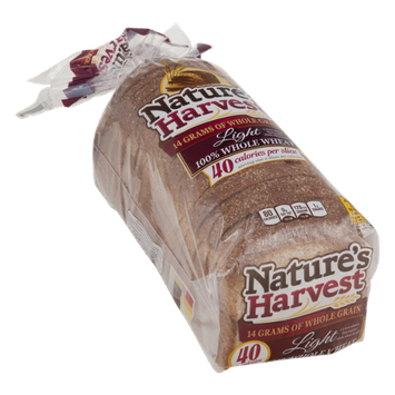 Nature's Harvest 100% Whole Wheat Bread Light
