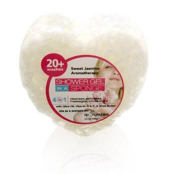 Spongeables Shower Gel in a Sponge (White Heart) 20+ Uses Sweet Jasmine Aromatherapy