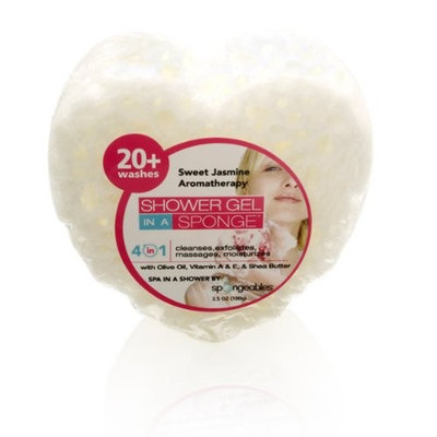 Spongeables Shower Gel in a Sponge (White Heart) 20+ Uses Sweet Jasmine Aromatherapy
