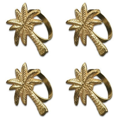 India Handicrafts Gilded Gold Tone Palm Tree Napkin Rings Set of 4 Metal