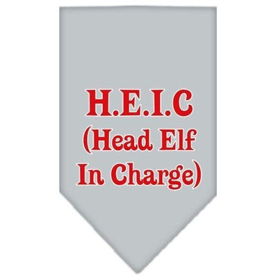 Mirage Pet Products 662507 LGGY Head elf In Charge Screen Print Bandana Grey Large
