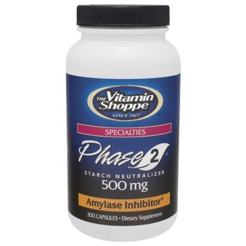 Vitamin Shoppe - Phase 2 Starch Neutralizer, 500 mg, 200 capsules