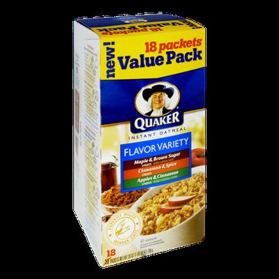 Quaker Instant Oatmeal Flavor Variety - Maple & Brown Sugar, Cinnamon & Spice, Apples & Cinnamon