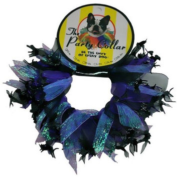 Charming Pet Products - CH77500L - Holiday Party Collar - Holoween Cats And Witch - Black And Purple - Lrg