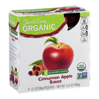 Santa Cruz Organic Cinnamon Apple Sauce Squeezable Pouches - 4 CT