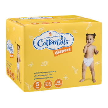 Ahold Cottontails Diapers 5-Size (27+ lb.) - 78 CT