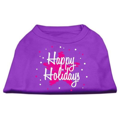 Mirage Pet Products 512514 XXLPR Scribble Happy Holidays Screenprint Shirts Purple XXL 18