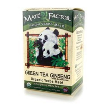 Mate Factor Organic Green Tea Ginseng Mate with Echinacea 24 Bags