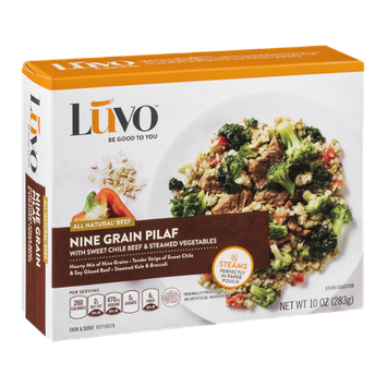 Luvo Nine Grain Pilaf with Sweet Chile Beef & Steamed Vegetables