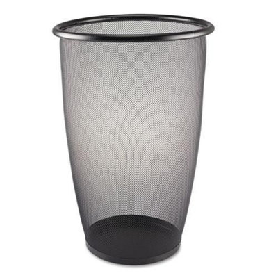 Safco Products Onyx Round Mesh Wastebasket, Steel Mesh, 9 Gallons, Black