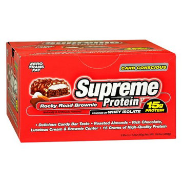 Supreme Protein Carb Conscious Rocky Road Brownie Chocolate Bars 9 Pk