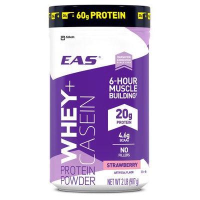 EAS Whey + Casein Strawberry Protein Powder, 2 lbs, (Pack of 2)