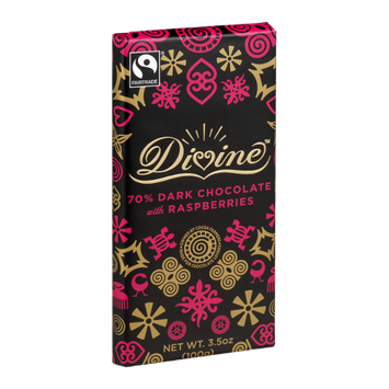 Divine Chocolate 70% Dark Chocolate with Raspberries