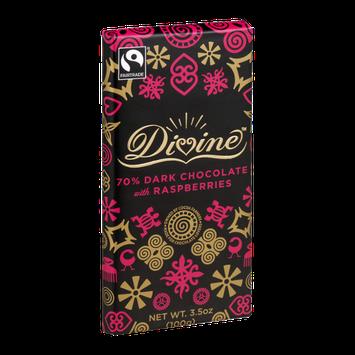 Divine Chocolate 70% Dark Chocolate with Raspberries