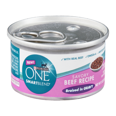PURINA ONE® Smartblend Savory Beef Recipe Braised in Gravy