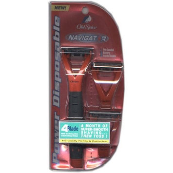 Old Spice Spice Navigator, Power Disposable, 1 Disposable Power Handle, 3 4-Blade Razor Heads