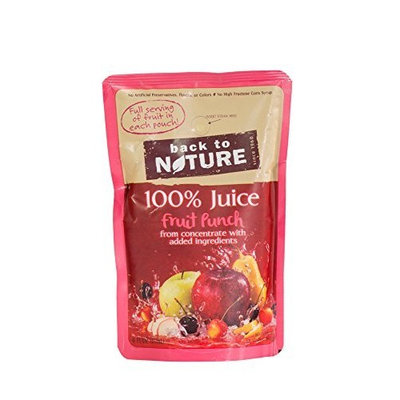 Back to Nature 100% Juice, Fruit Punch, 10-Count, 6-Ounce Pouches (Pack of 4)
