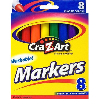 Cra Z Art Cra-Z-art Classic Washable Broadline Markers, Box of 8 (10000PS-24)