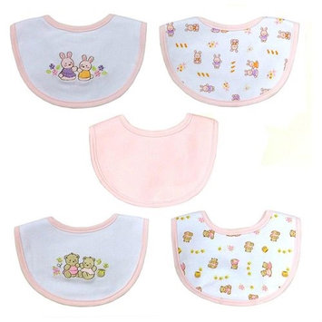Hamco Newborn Girl 5 Pack Embroidered Bib Set