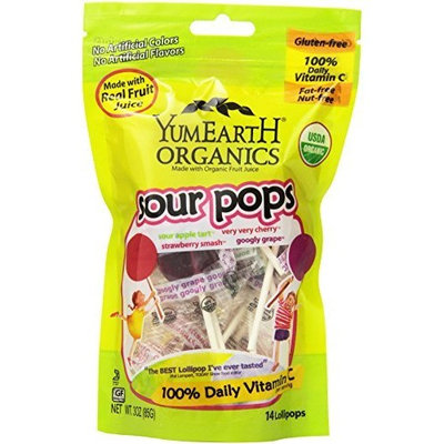 Yummyearth YumEarth Organic Super Sour Lollipops, 3 Ounce Pouches (Pack of 6)