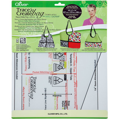 Clover Mfg Co Ltd Clover Trace 'n Create Bag Templates With Nancy Zieman Nancy's Hobo Tote Collection