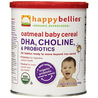 Happybaby Happy Bellies Organic Baby Cereal with DHA, Choline & Probiotics, Oatmeal, 7-Ounce Canisters (Pack of 6)