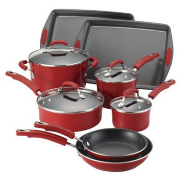 Rachael Ray Porcelain II Nonstick 12-Piece Set, Red Gradient