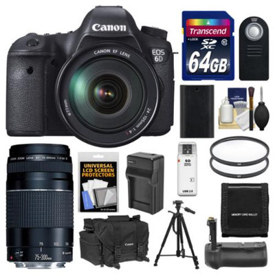 Canon EOS 6D Digital SLR Camera Body with EF 24-105mm L IS USM & 75-300mm III Lens + 64GB Card + Case + Grip + Battery & Charger + Tripod + Filters Kit