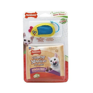 Nylabone Cat Dental Insert-A-Treat Chow Mouse Treat Holder with 1-Ounce Trial Size Chicken Flavor Treats