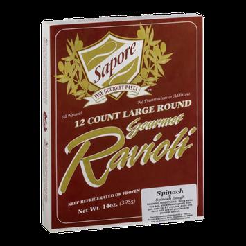 Sapore Fine Gourmet Pasta Large Round Ravioli Spinach & Spinach Dough - 12 CT