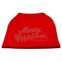 Mirage Pet Products 522507 XSRD Merry Christmas Rhinestone Shirt Red XS 8