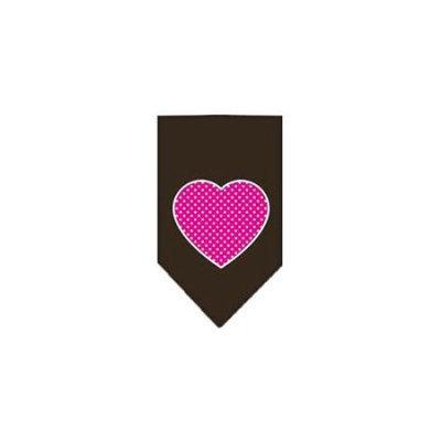 Ahi Pink Swiss Dot Heart Screen Print Bandana Cocoa Small