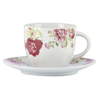Kathy Ireland Home by Gorham Blossoming Rose Cup and Saucer Set of 4