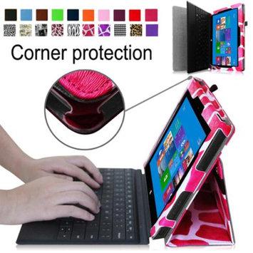 Fintie Premium Leather Folio Case for Microsoft Surface Pro / Surface Pro 2 Windows 8 Tablet 10.6 Inch, Giraffe Magenta