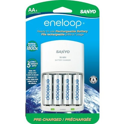 Sanyo eneloop AA with 4 Position Charger, 1800 cycle, Ni-MH Pre-Charged Rechargeable Batteries, 4 Pack (discontinued by manufacturer)