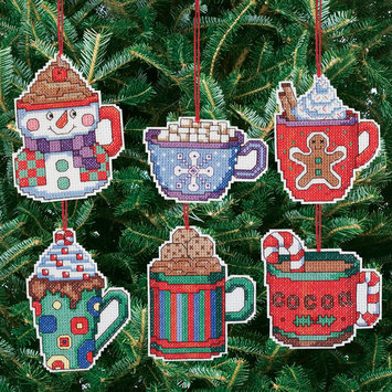 Janlynn Cocoa Mug Ornaments Counted Cross Stitch Kit