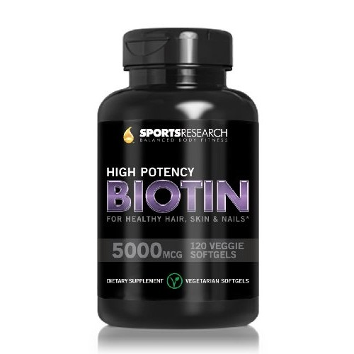 Sports Research Biotin (High Potency) 5000mcg Per Veggie Softgel; Enhanced with Coconut Oil for better absorption; Supports Hair Growth, Glowing Skin and Strong Nails; 120 Mini-Veggie Softgels; Made In USA.
