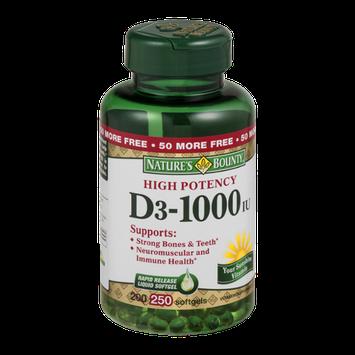 Nature's Bounty High Potency D3-1000IU Softgels - 250 CT