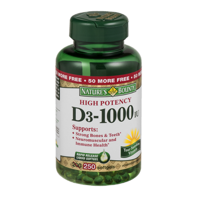 Nature's Bounty High Potency D3-1000IU Softgels - 250 CT