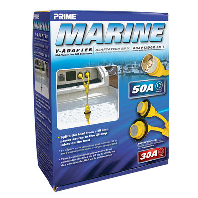 Prime Wire MARAD5030Y Twist-to-Lock Marine Yin Adapter 50 Amp Plug and Two 30 Amp Co