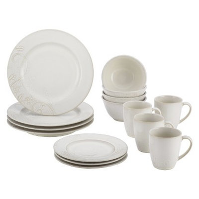 Bonjour Paisley Vine 16 Piece Dinnerware Set - Cream