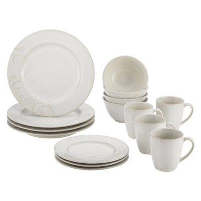 Bonjour Paisley Vine 16 Piece Dinnerware Set - Cream