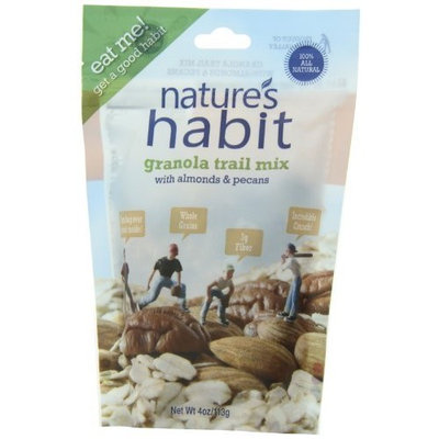 Nature's Habit Granola Trail Mix with Almonds and Pecans, 4-Ounce Pouches (Pack of 12)