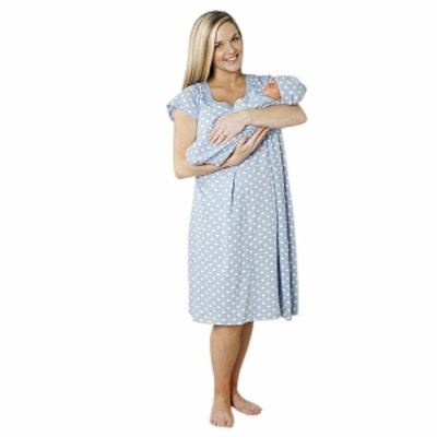 Baby Be Mine Charlotte Nursing NightGown with Romper, Blue, Medium, 1 ea