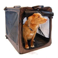 Bergan Canine Medium Soft-Sided Crate, Collapsed Size 3.50 by 22.50 by 25-Inch, Black and Tan